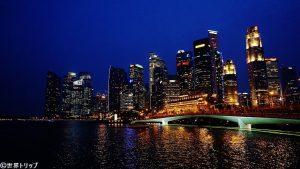 シンガポールのきれいな夜景(マーライオン側)