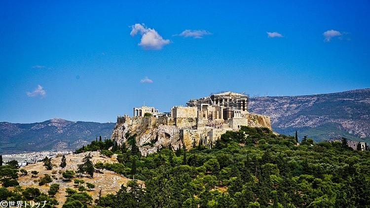 ギリシャ・アテネのフィロパポスの丘から見たパルテノン神殿