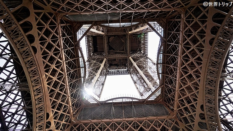 エッフェル塔(Tour Eiffel)を下から撮影