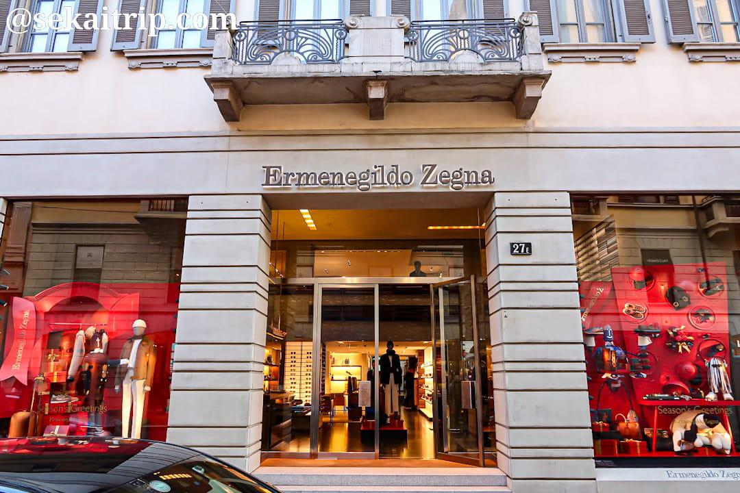 ミラノのエルメネジルド・ゼニア(Ermenegildo Zegna)本店