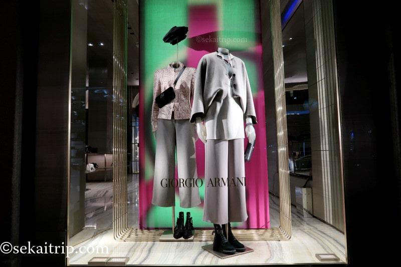 ミラノのジョルジオ・アルマーニ本店のディスプレイ(3)