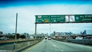 フリーウェイから見たサンフランシスコの街並み