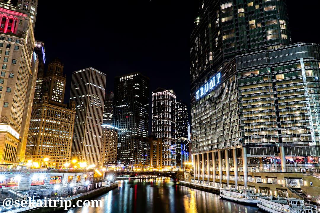 ミシガン大通橋から見た夜景