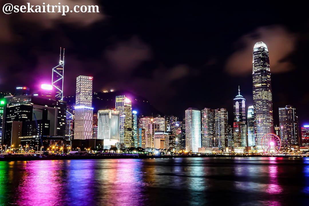 エキスポ・プロムナード(Expo Promenade)から見た夜景(中環方面)