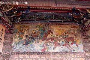 台北三大廟の大龍峒保安宮(虎牢関の戦いを描いた壁画)