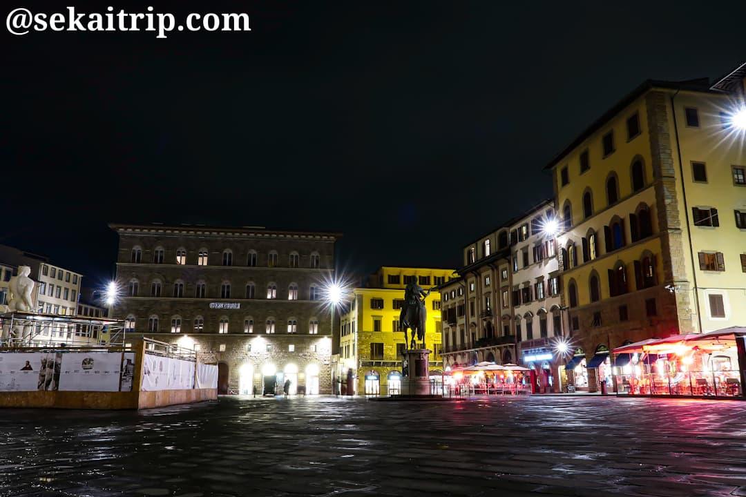 21時頃のシニョーリア広場(Piazza della Signoria)