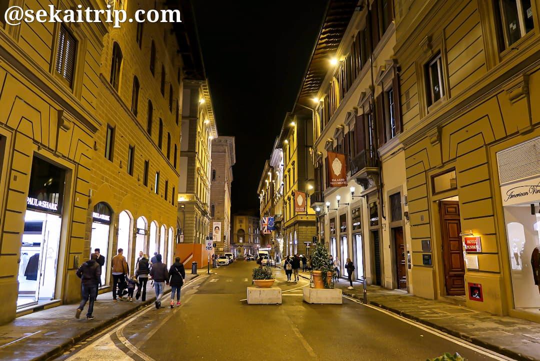 夜のストロッツィ通り(Via degli Strozzi)