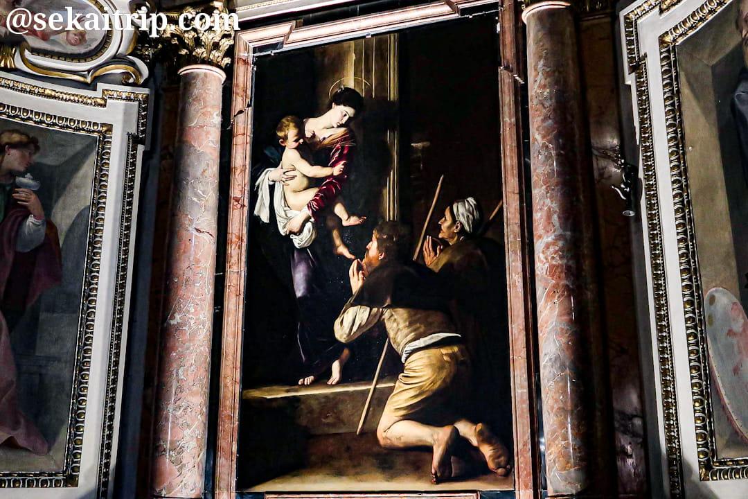 サンタゴスティーノ・イン・カンポ・マルツィオ教会にあるカラヴァッジョ作「巡礼の聖母」