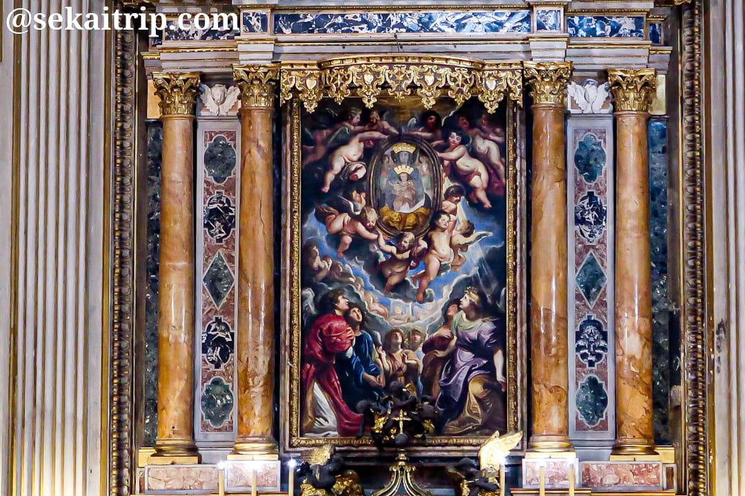 ヌオーヴァ教会にあるルーベンス作「Madonna della Vallicella」