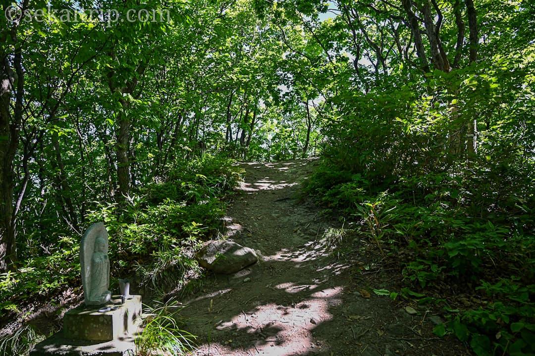尻場山の登山道(分岐点、先は踊り場)