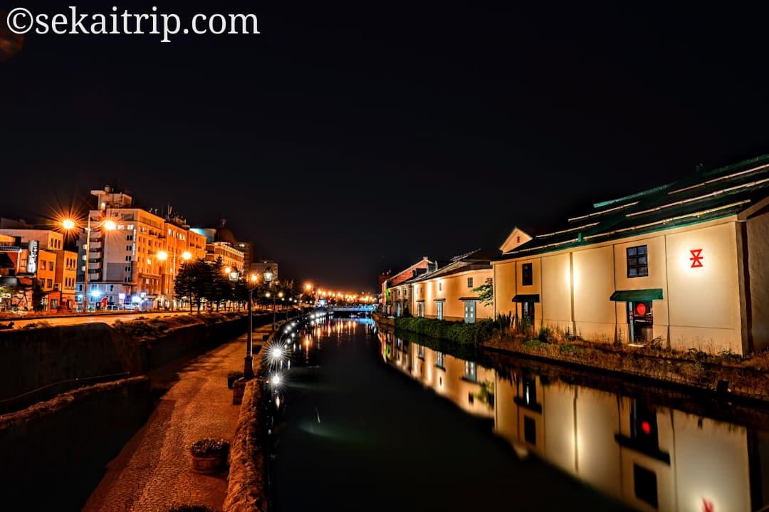 小樽運河の夜景(観光案内所側から撮影)