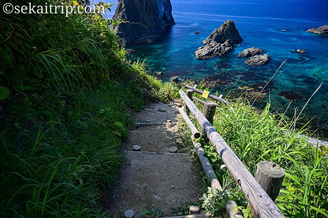 島武意海岸へ下る道