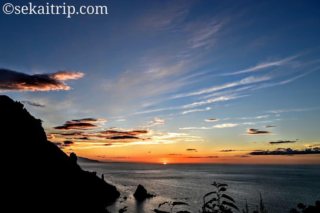 祝津パノラマ展望台から見た夕日